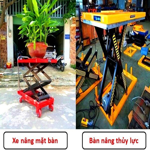 So sánh Bàn nâng điện cố định và xe nâng mặt bàn