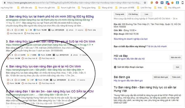 Kết quả tìm kiếm bàn nâng điện thủy lực trên Google
