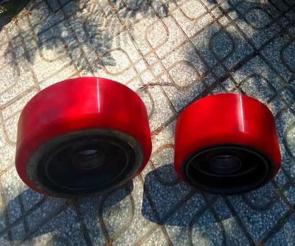 Đắp bánh xe nâng điện PU giá rẻ, bánh xe linde