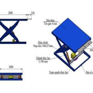 Bản vẽ thiết kế bàn nâng thủy lực 1 tấn tại HCM