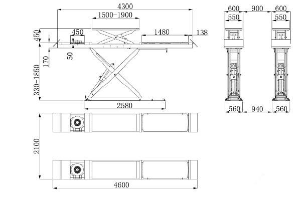 Bản vẽ sản xuất bàn nâng thủy lực tại HCM
