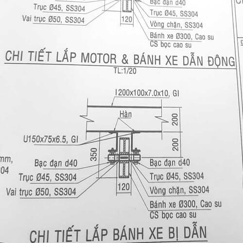 Thiết kế bánh xe PU/cao su bể lắng bùn theo yêu cầu