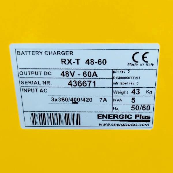 Thông số cơ bản của Bộ sạc ắc quy xe nâng điện 48V-60A