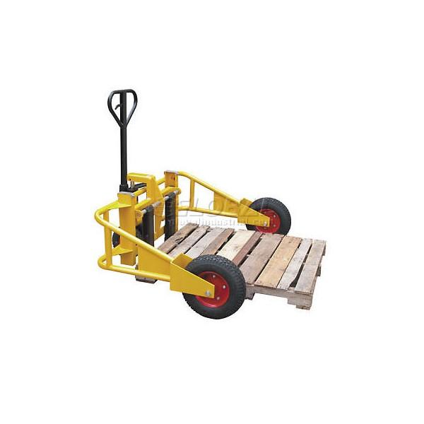 Xe nâng tay bánh lớn giúp vận chuyển pallet 2 mặt dễ dàng